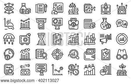 Market Forecast Icons Set. Outline Set Of Market Forecast Vector Icons For Web Design Isolated On Wh