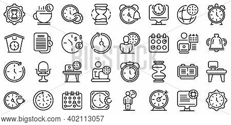 Flexible Working Hours Icons Set. Outline Set Of Flexible Working Hours Vector Icons For Web Design