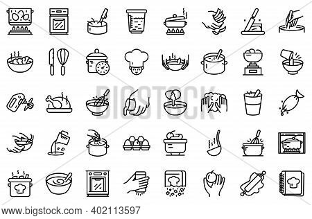 Hands Preparing Foods Icons Set. Outline Set Of Hands Preparing Foods Vector Icons For Web Design Is