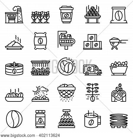 Coffee Production Icons Set. Outline Set Of Coffee Production Vector Icons For Web Design Isolated O