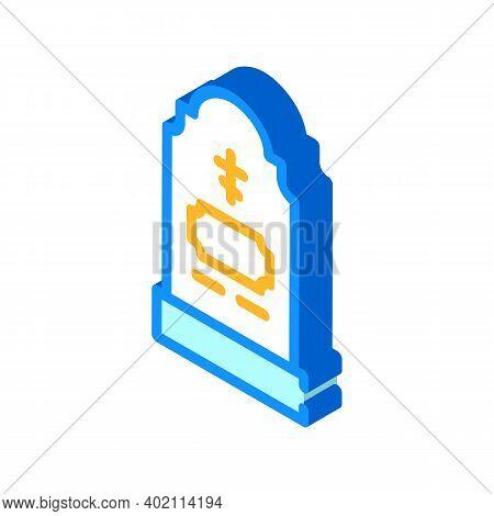 Grave Headstone Isometric Icon Vector Illustration Color