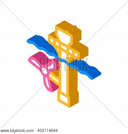 Ocean Electrical Tidal Power Plant Isometric Icon Vector Illustration