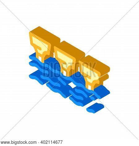 Sea Electric Tidal Power Plant Isometric Icon Vector Illustration