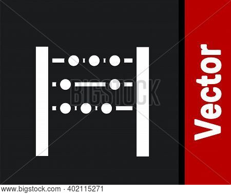 White Abacus Icon Isolated On Black Background. Traditional Counting Frame. Education Sign. Mathemat