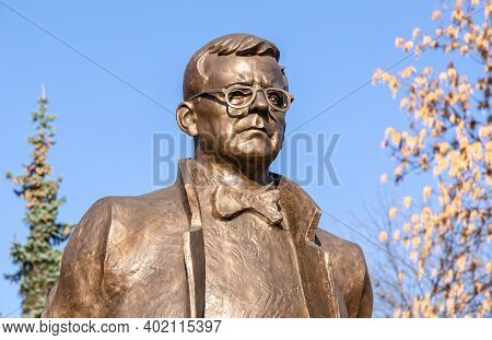 Samara, Russia - October 29, 2020: Bronze Monument Of The Soviet Composer Dmitri Shostakovich. Autho