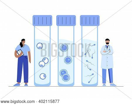 Woman And Man Egg Cells, Embryo Icon In Tube. Doctor Gynecologist In Laboratory. Sperm And Ovum. Fer