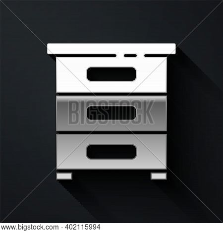Silver Drawer With Documents Icon Isolated On Black Background. Archive Papers Drawer. File Cabinet