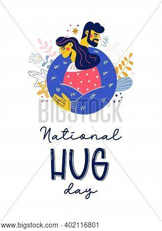 National Hug Day Happy Embrace Vector Illustration