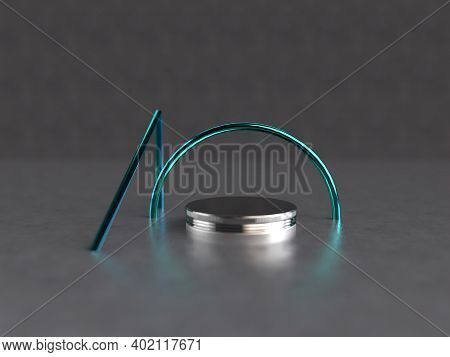 Product Display In Grey Background Geometrical Shape 3d Render