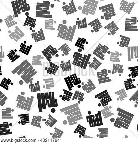 Black Productive Human Icon Isolated Seamless Pattern On White Background. Idea Work, Success, Produ