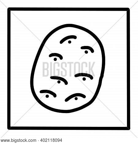 Potato Hand Drawn Vector Icon Doodle Logo In Cartoon Style Black White Contrast