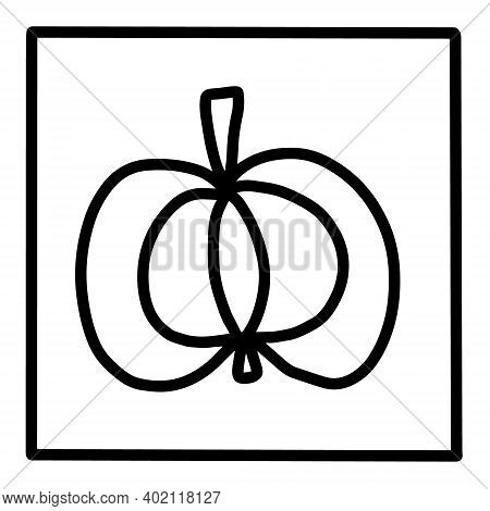 Pumpkin Hand Drawn Vector Icon Doodle Logo In Cartoon Style Black White Contrast