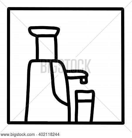 Juicer Hand Drawn Vector Icon Doodle Logo In Cartoon Style Black White Contrast