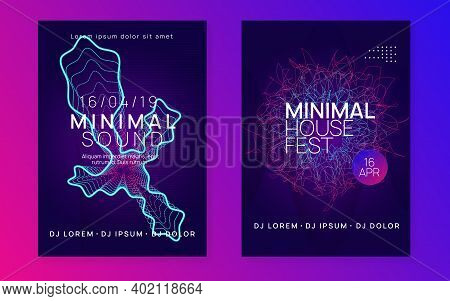 Trance Event. Geometric Show Brochure Set. Dynamic Fluid Shape And Line. Neon Trance Event Flyer. Te