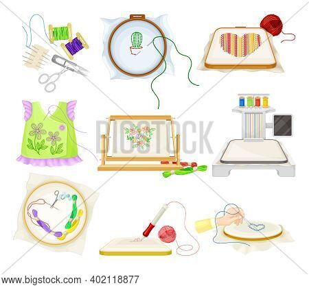 Embroidery And Cross Stitch Art Supplies With Tambour And Canvas Vector Set