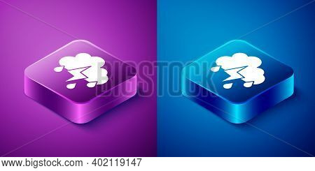 Isometric Cloud With Rain And Lightning Icon Isolated On Blue And Purple Background. Rain Cloud Prec