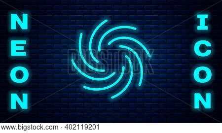 Glowing Neon Tornado Icon Isolated On Brick Wall Background. Cyclone, Whirlwind, Storm Funnel, Hurri