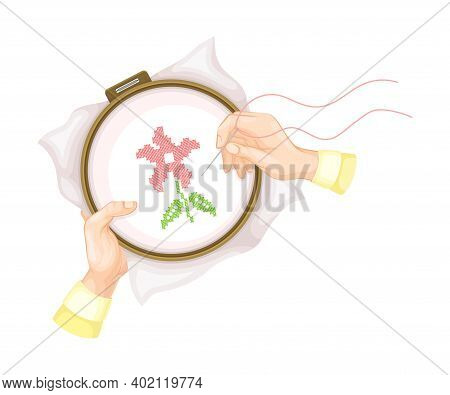 Hand Making Cross Stitch Flower On Canvas In Tambour Vector Illustration
