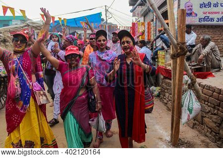 Mathura, Uttar Pradesh/ India- January 6 2020: Women Chanting Songs And Walking In A Happy Mood Cele