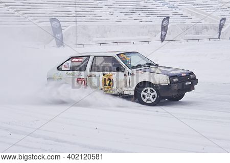 Perm, Russia - January 26, 2020: Car Tuned For Hard Racing During Ice Drifting Competition