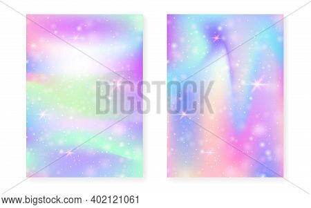 Kawaii Background With Rainbow Princess Gradient. Magic Unicorn Hologram. Holographic Fairy Set. Tre