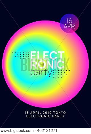 Music Flyer. Electronic Sound. Night Dance Lifestyle Holiday. Abstract Disco Concert Magazine Design