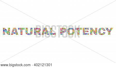 Natural Potency Caption With Bright Mosaic Flat Style. Colorful Vector Illustration Of Natural Poten