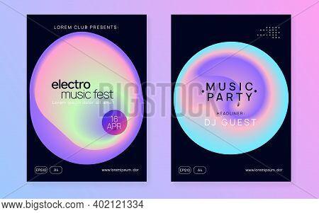 Music Fest Set. Dynamic Trance Show Magazine Design. Electronic Sound. Night Dance Lifestyle Holiday