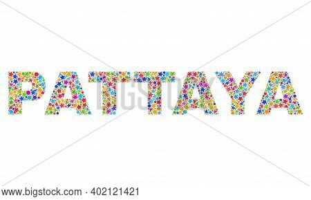 Pattaya Text With Bright Mosaic Flat Style. Colorful Vector Illustration Of Pattaya Text With Scatte