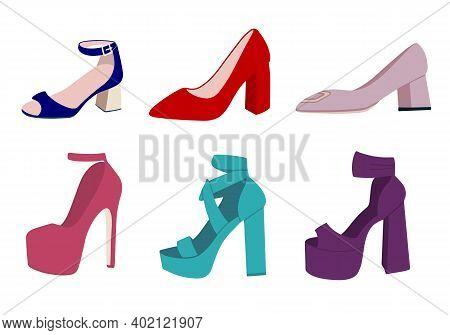 High-heeled Shoes Set. Flat Vector Illustration. Womens High-heeled Shoes