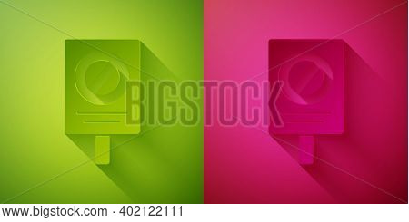 Paper Cut Protest Icon Isolated On Green And Pink Background. Meeting, Protester, Picket, Speech, Ba