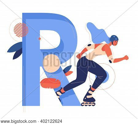 Roller Skater With Large Letter R Good For Extreme Sport And Female School. Blue Capital Abc Charact