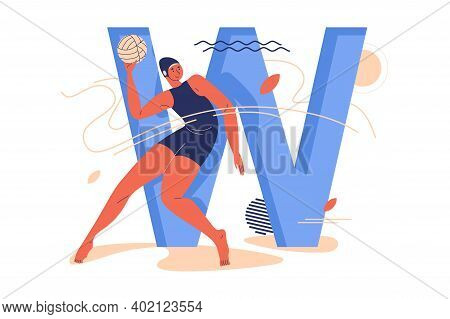 Young Woman With Ball Training During Water Polo Game And Large Capital Letter W Decorated With Geom