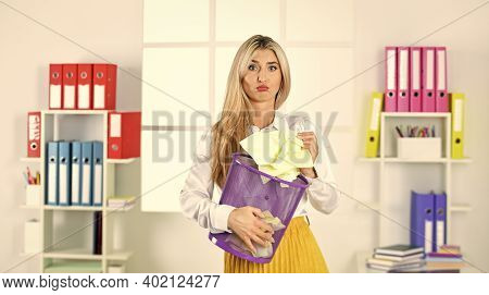 Lost Due To Distraction. Paper Recycling. Crumpled Paper In Basket. Woman Hold Garbage Bin. Cancel F