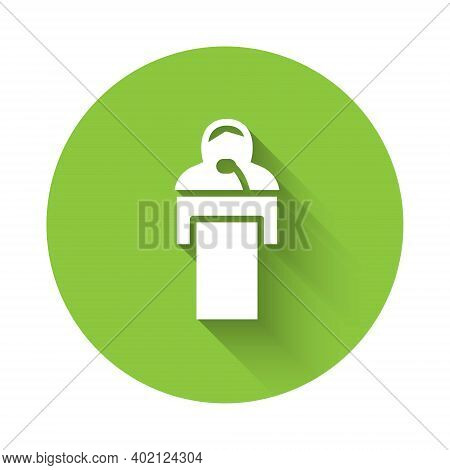 White Gives Lecture Icon Isolated With Long Shadow. Stand Near Podium. Speak Into Microphone. The Sp