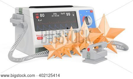 Customer Rating Of Automated External Defibrillator. 3d Rendering Isolated On White Background
