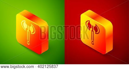 Isometric Medieval Axe Icon Isolated On Green And Red Background. Battle Axe, Executioner Axe. Medie