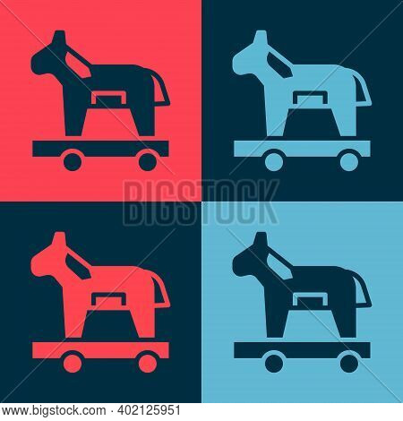 Pop Art Trojan Horse Icon Isolated On Color Background. Vector