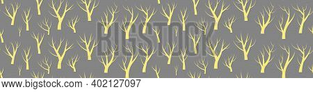Naked Trees Seamless Pattern. Yellow Silhouettes On Gray Background. Vector Illustration.