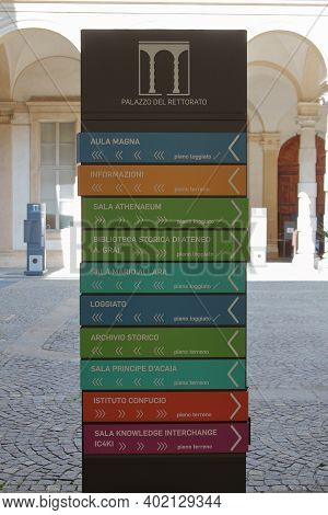 Turin, Italy - September 2020: Information Bulletin Board Of The University Offices Inside The Recto