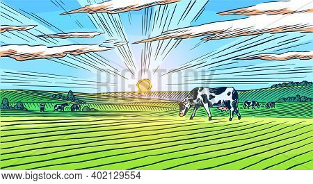Rural Meadow. A Village Landscape With Cows, Hills And A Farm. Sunny Scenic Country View. Hand Drawn