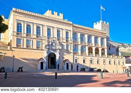 Monaco, January 20 2019: Prince Palace And Old Town On The Hill In Principality Of Monaco.  Official