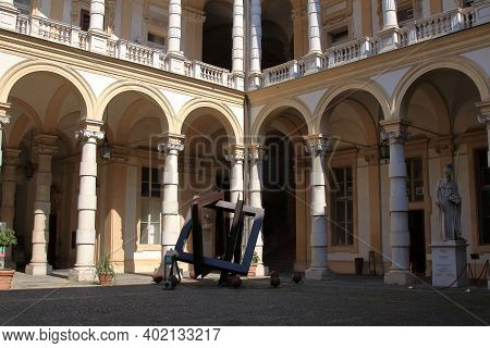 Turin, Italy - September 2020: Baroque Arcades In The Inner Courtyard Of The Rectory Building In Cen