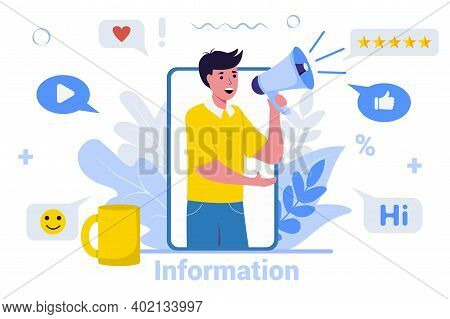 Smartphone With A Man Shouting In Loudspeaker Marketing Advertisement Concept Vector Illustration