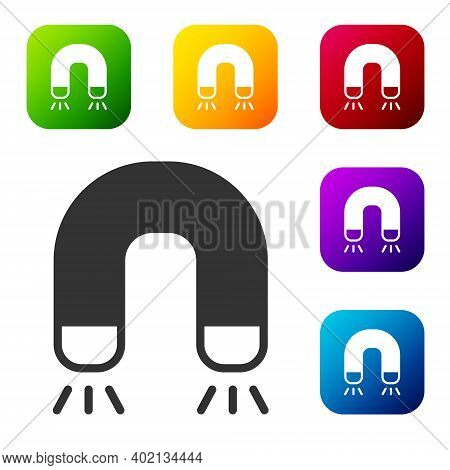 Black Magnet Icon Isolated On White Background. Horseshoe Magnet, Magnetism, Magnetize, Attraction.