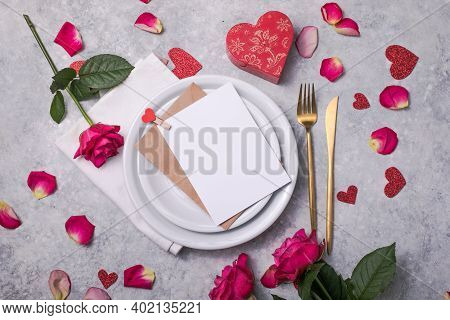 Valentines Dinner With Table Place Setting  Hearts Decoration, Rose For Valentines Days Dinner. View