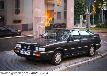 Frankfurt Am Main, Germany - September 13, 2013: Old Car Audi Coupe In The City Street.