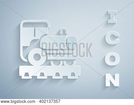 Paper Cut Vintage Locomotive Icon Isolated On Grey Background. Steam Locomotive. Paper Art Style. Ve