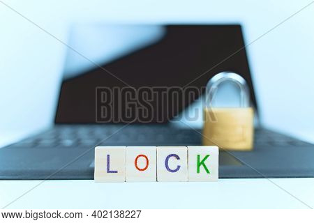 Lock On Laptop. Computer And Internet Security Concept