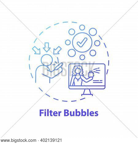 Filter Bubbles Concept Icon. Journalism Challenge Idea Thin Line Illustration. Isolating Users From